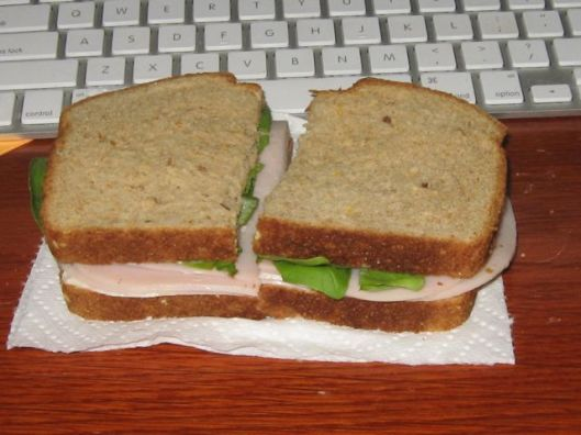 Oven Roasted Turkey on 7 Grain Bread with Fresh Basil and a Teaspoon of Mayo